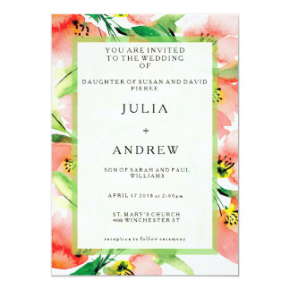 Tropical Apricot Floral Watercolor Wedding Invite