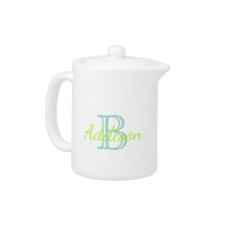Tropical Aqua and Lime Monogram Teapot