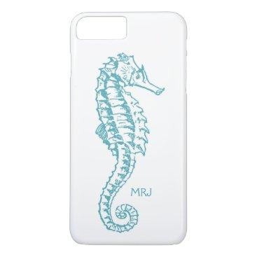 Beach Themed Tropical Aqua Blue Seahorse Monogram Initials iPhone 7 Plus Case