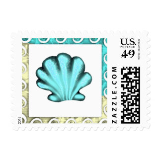 Tropical Aqua Clam Postage Stamp from the Sea