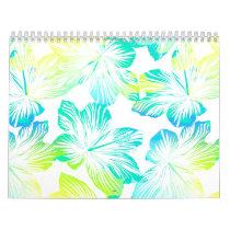 Tropical aqua flowers calendar