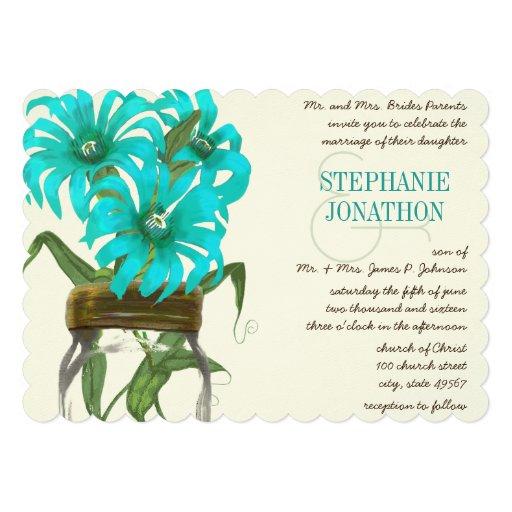 Tropical Aqua Mason Jar Exotic Flower Wedding Personalized Invites