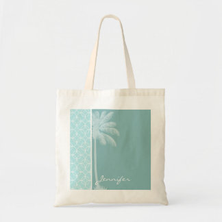 Tropical Baby Blue Circles Budget Tote Bag