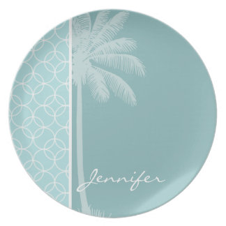 Tropical Baby Blue Circles Dinner Plates