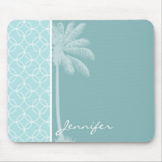 Tropical Baby Blue Circles Mouse Pad