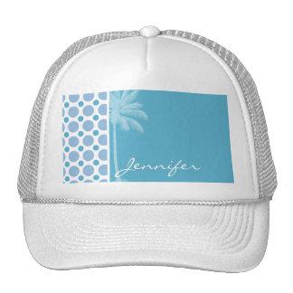 Tropical Baby Blue Polka Dots Trucker Hat
