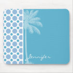 Tropical Baby Blue Polka Dots Mouse Pad