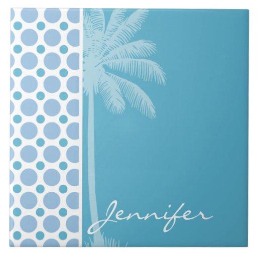 Tropical Baby Blue Polka Dots Tiles