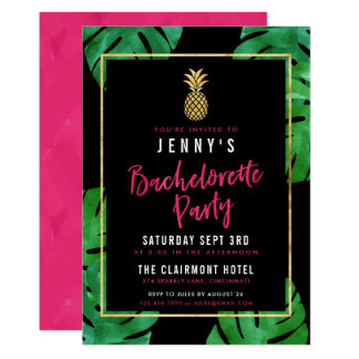 Tropical Bachelorette Party / Gold Pineapple Invitation