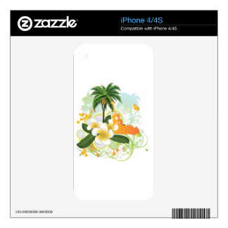 Tropical background with guitar 2 skins for the iPhone 4