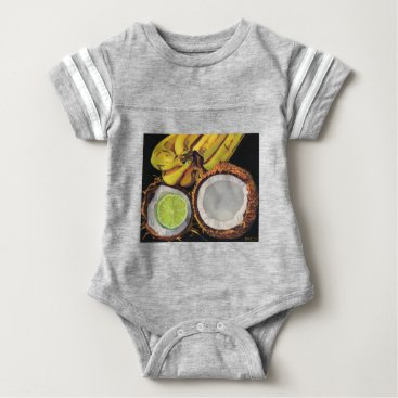 Beach Themed Tropical Banana Coconut Lime Baby Bodysuit