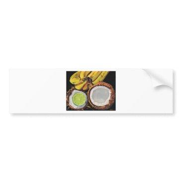 Beach Themed Tropical Banana Coconut Lime Bumper Sticker