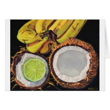 Beach Themed Tropical Banana Coconut Lime Card