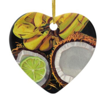 Beach Themed Tropical Banana Coconut Lime Ceramic Ornament