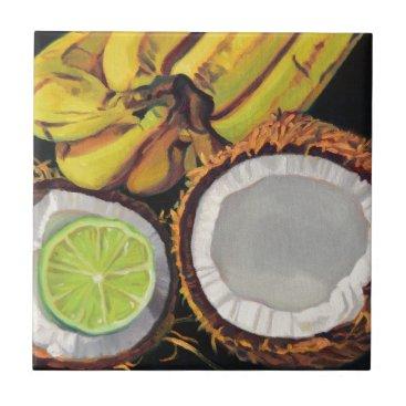 Beach Themed Tropical Banana Coconut Lime Ceramic Tile
