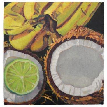 Beach Themed Tropical Banana Coconut Lime Cloth Napkin