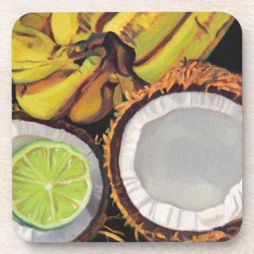 Beach Themed Tropical Banana Coconut Lime Coaster
