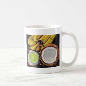 Beach Themed Tropical Banana Coconut Lime Coffee Mug
