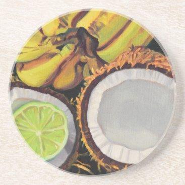 Beach Themed Tropical Banana Coconut Lime Drink Coaster