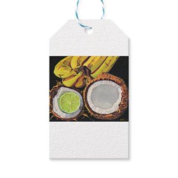 Beach Themed Tropical Banana Coconut Lime Gift Tags