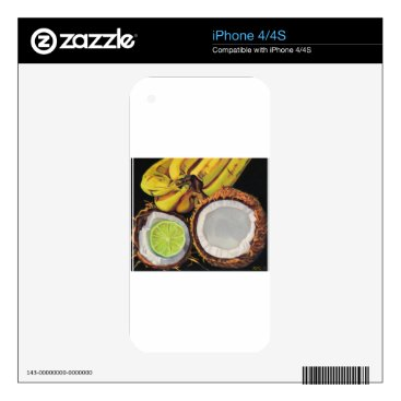 Beach Themed Tropical Banana Coconut Lime iPhone 4 Decals