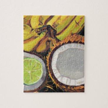 Beach Themed Tropical Banana Coconut Lime Jigsaw Puzzle