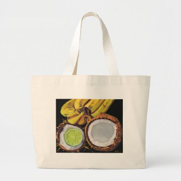 Beach Themed Tropical Banana Coconut Lime Large Tote Bag