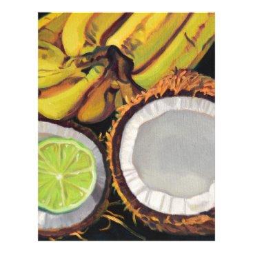 Beach Themed Tropical Banana Coconut Lime Letterhead