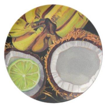 Beach Themed Tropical Banana Coconut Lime Melamine Plate