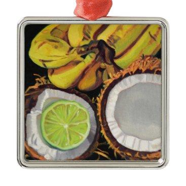 Beach Themed Tropical Banana Coconut Lime Metal Ornament
