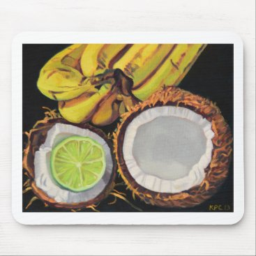Beach Themed Tropical Banana Coconut Lime Mouse Pad