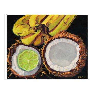 Beach Themed Tropical Banana Coconut Lime Postcard