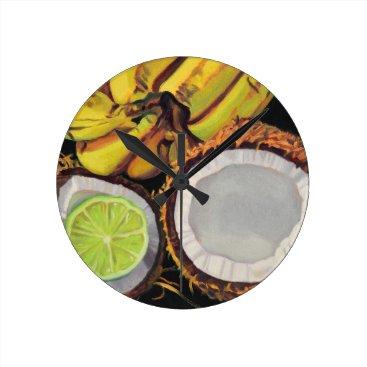 Beach Themed Tropical Banana Coconut Lime Round Clock