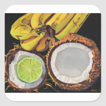 Beach Themed Tropical Banana Coconut Lime Square Sticker