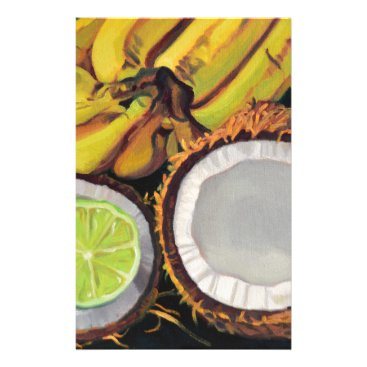 Beach Themed Tropical Banana Coconut Lime Stationery