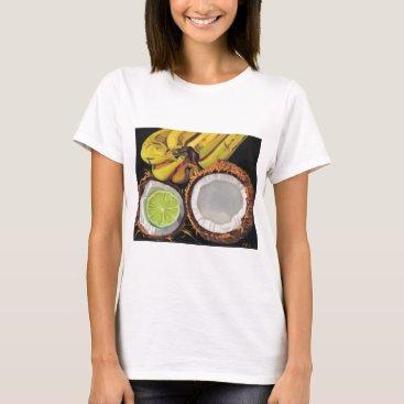 Beach Themed Tropical Banana Coconut Lime T-Shirt