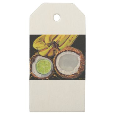 Beach Themed Tropical Banana Coconut Lime Wooden Gift Tags