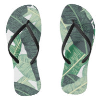 Tropical Banana Leaf pattern Flip Flops