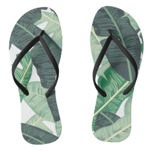 3d0029dec1a0e4 Tropical Banana Leaf pattern Flip Flops