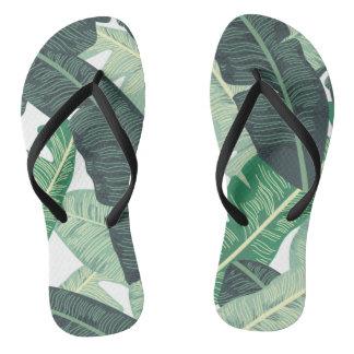 Tropical Banana Leaf pattern Flip Flops