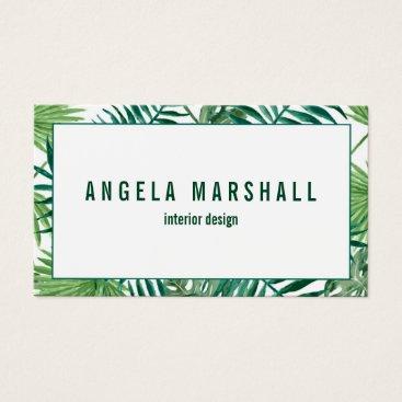Beach Themed Tropical Banana Palm Leaf Botanical Business Card