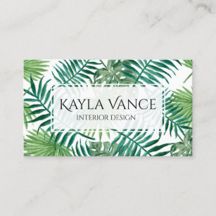 tropical banana palm leaf botanical business card
