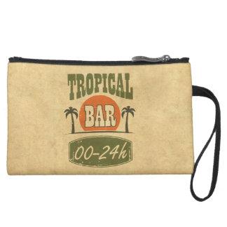 Tropical Bar Suede Wristlet