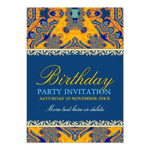 Tropical Batik Orange Blue Birthday Invitation