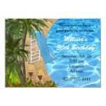 "Tropical BBQ Summer Pool Swim Party Invitation 4.5"" X 6.25"" Invitation Card"