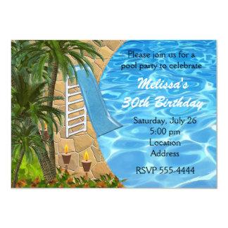 Tropical BBQ Summer Pool Swim Party Invitation