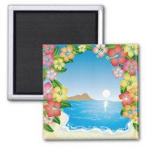 art, beach, beutiful, colorful, design, flower, graphic, hawaii, hibiscus, illustration, landscape, nature, summer, sunrise, sunset, tropical, wave, tropics, Ímã com design gráfico personalizado