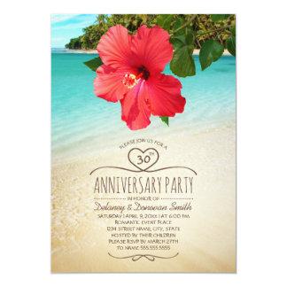 Tropical Beach 30th Wedding Anniversary Party Card