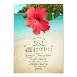 Tropical Beach 30th Wedding Anniversary Party Invitation