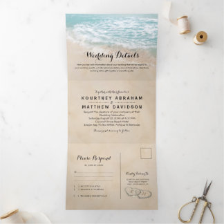 Tropical Beach 3 in 1 Wedding Tri-Fold Invitation